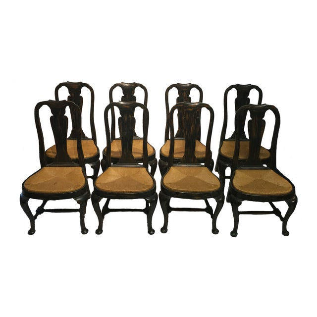 Image of Bench Made Queen Anne Rush Seat Chairs - Set of 8