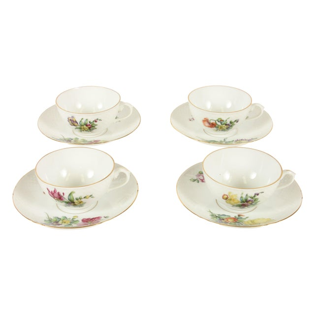 Bing&Grondahl Saxon Flower Cup & Saucer - Set of 4 - Image 1 of 5
