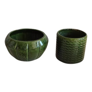 Mid-Century Green Pottery Plant Pots - A Pair