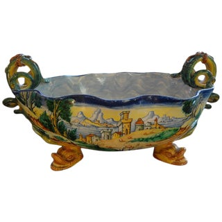 Antique Italian Hand Painted Faience Majolica Bowl