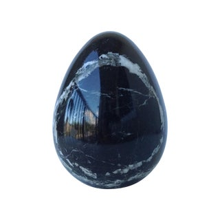 Black Marble Egg-Shaped Accent