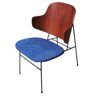 "Ib Kofod-Larsen ""Penguin"" Iron and Molded Birch Danish Lounge Chair"