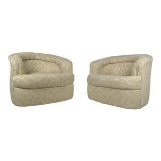Milo Baughman Style Mid-Century Swivel Lounge Chairs - a Pair