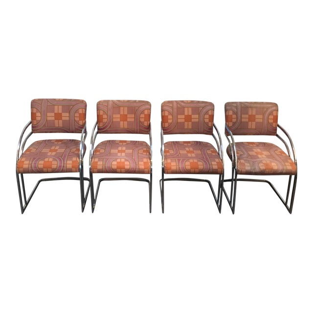 Image of Milo Baughman Style 1970's Deco Style Chrome Framed Chairs - Set of 4
