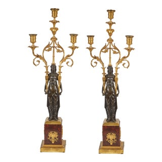 Pair Of Russian Red Marble, Bronze, and Gilded Candlesticks