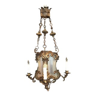 18th C Venetian Baroque Gilt, Tole, and Glass Lantern Chandelier