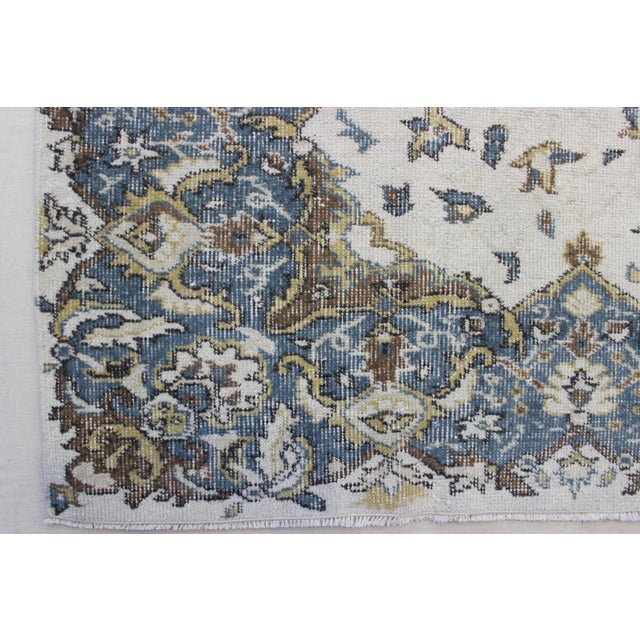 "Blue Cream Turkish Overdyed Rug - 6'1"" X 10' - Image 5 of 9"