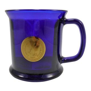 Cobalt Blue Glass Mug W Antique Spanish Coin Design