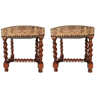 Vintage French Renaissance Style Stools - Pair
