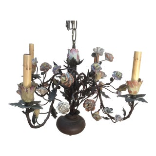 Antique Tole & Porcelain Tulip Flower Chandelier
