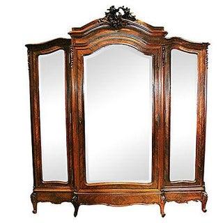 Antique French Rosewood 3-Door Armoire