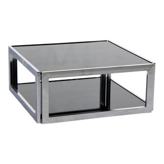 Mid-Century Modern Square Chrome & Smoked Glass Coffee Table
