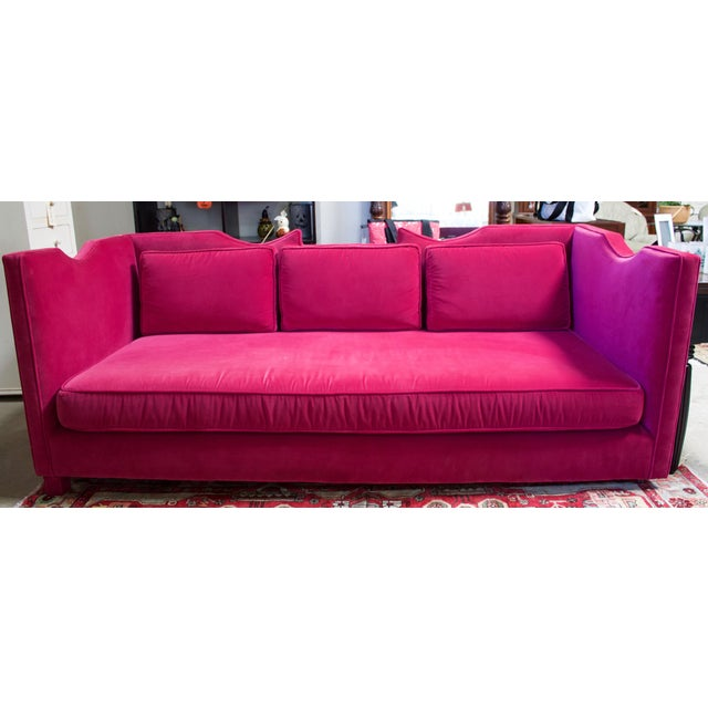 Deep Pink Velvet Sofa - Image 2 of 5