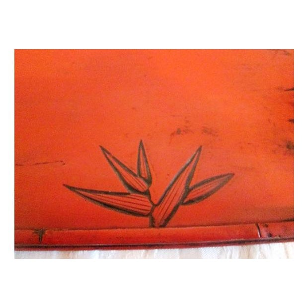 Image of Cinnabar Red Bamboo Leaf Design Tray