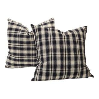 Pair of 19thc Blue & White Homespun Woven Linen Pillows