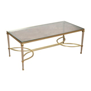 Hollywood Regency Mix Metal Bronze Coffee Table