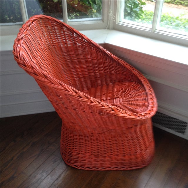Vintage Bright Orange Wicker Chair - Image 10 of 11