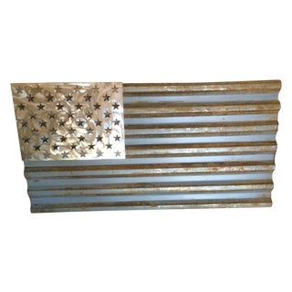 Industrial Reclaimed Metal American Flag - Made to Scale