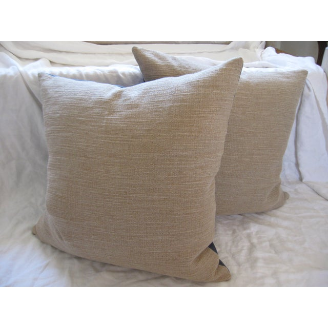 Atlantic Blue Leather Pillows - A Pair - Image 6 of 7