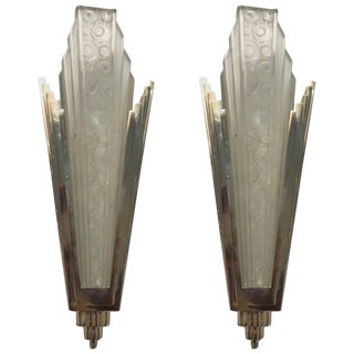 French Art Deco Sconces with Geometric and Skyscraper Motif - A Pair