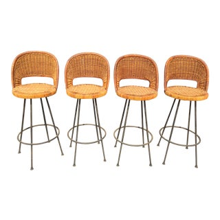 Rattan Bar Stools - Set of 4