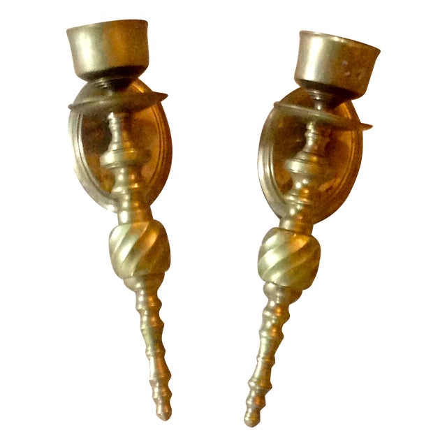 Scrolled Brass Candle Sconces - Image 1 of 3