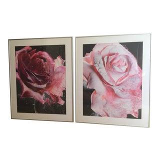 Modern Custom Framed Rose Photographs - A Pair