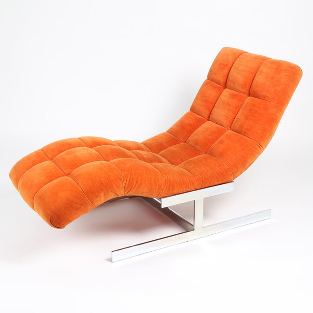 Superior 1970s milo baughman wave chaise lounge in for Chaise longue wave