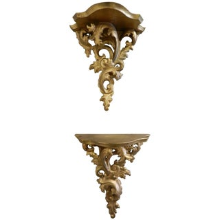 Florentine Gilded Wood Wall Brackets - A Pair