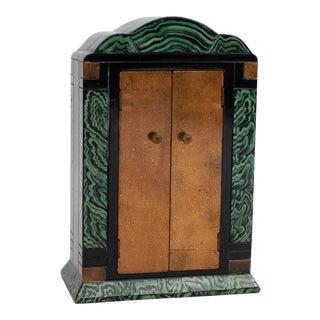 Art Deco Faux Malachite Jewelry Cabinet