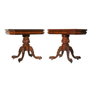 A Pair of Carved Mahogany Classical Card Tables with Eagle Heads