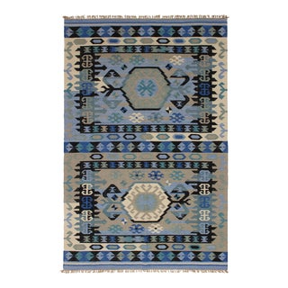 Turkish Tribal Bohemian Navy Indigo Design Rug - 8′ × 10′