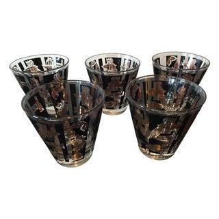 Black & Gold Mid-Century Cocktail Glasses - 10