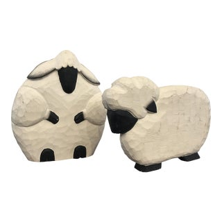 Hand Carved Wooden Lambs - A Pair