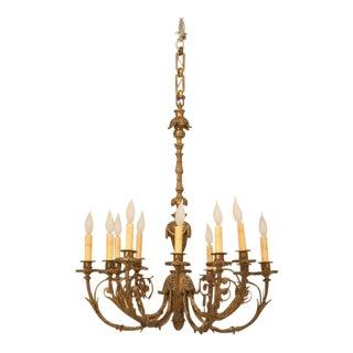 Antique French Solid Bronze Twelve-Light Chandelier