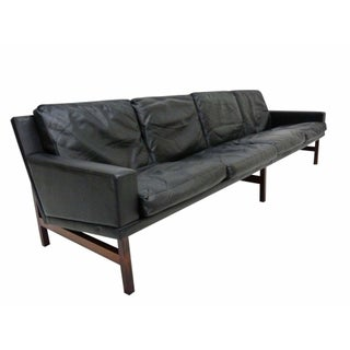 Sven Ellekaer Danish Modern Rosewood & Leather Sofa