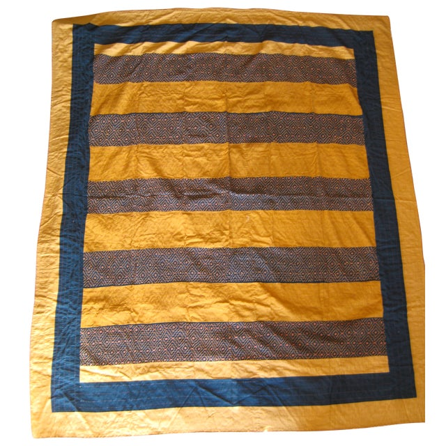 Image of Hand-Embroidered Geometric Stripes Quilt