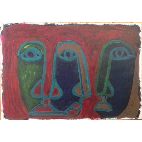 Mid-Century Abstract Three Face Portrait Painting - Image 1 of 5