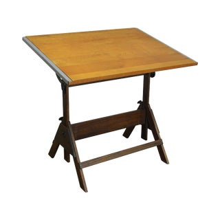 Vintage Antique Oak & Pine Adjustable Drafting Table