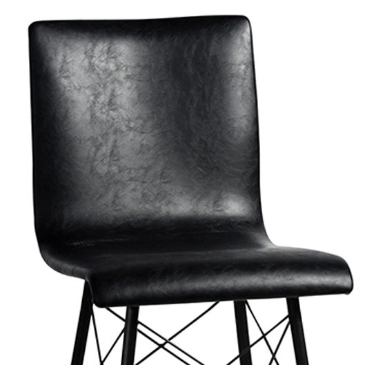 Black Leather & Iron Counter Stool - Image 2 of 2