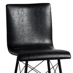 Image of Black Leather & Iron Counter Stool