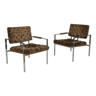 Milo Baughman Brown Velvet Upholstered Lounge Chairs - a Pair