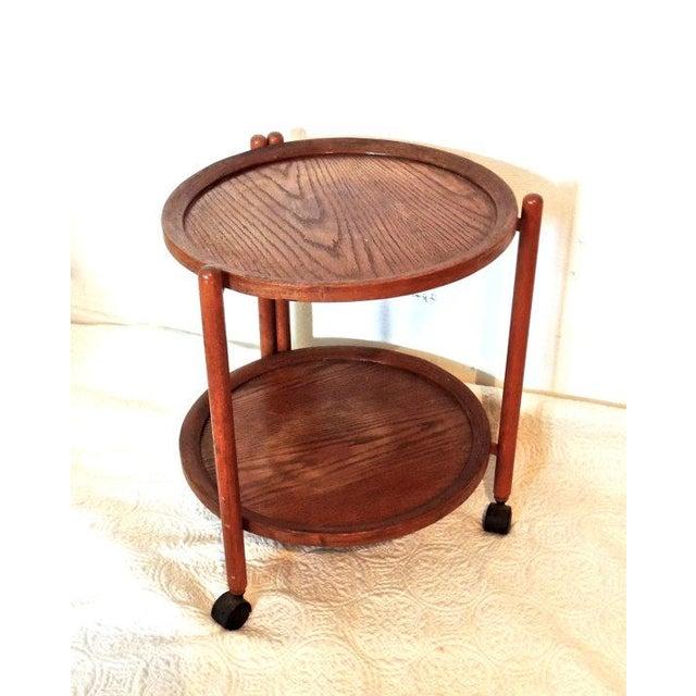 Vintage Tray Top Folding Teak Tea Cart - Image 4 of 5