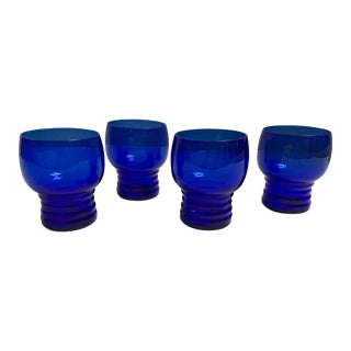 Blue Cobalt Mid-Century Cocktail Glasses- S/4