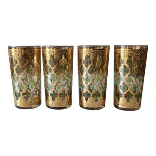 Set of 4 Mid Century Gold and Emerald Moroccan Design Highball