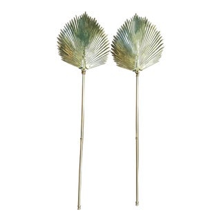 Chapman Brass Palm Frond Wall Sconces - A Pair