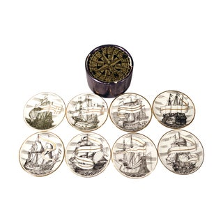 Piero Fornasetti Coasters of Tall Ships - Set of 8