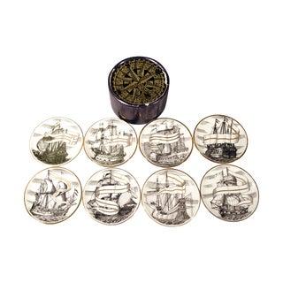 Piero Fornasetti Coasters of Tall Ships - Set of 8