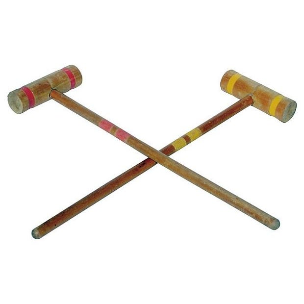 Image of Old-School Croquet Mallets in Red & Yellow - A Pair