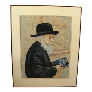 Pastel Portrait Jewish Man Rabbi by Leslie
